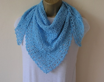 Light Blue shawl wrap, lightweight lace, handmade, ready to ship
