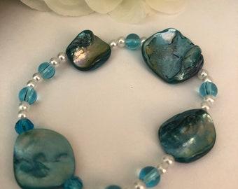 Turqoise Blue Shell Bracelet