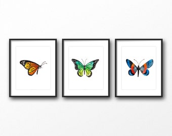 Set of 3 watercolor butterfly print - butterfly art print - Digital butterfly artwork - Printable butterfly wall art