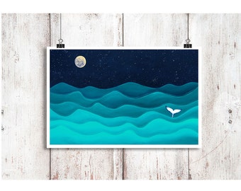 """Full Moon Splash Humpback Whale Print, Whale art, Whale Instant Download, Digital Download, Whale painting, Whale Art, Whale Print 9"""" x 14"""""""