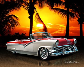 Auto Art, Car Art,  1956 Ford Fairlane Sunliner, Hot Rod Art, Classic Car Print, AW14