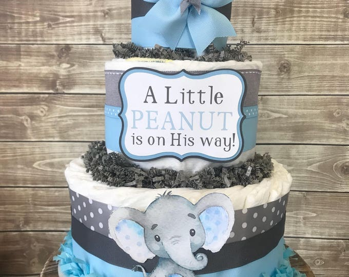 Featured listing image: Little Peanut Diaper Cake in Blue and Gray, Elephant Baby Shower for Boys, Elephant Centerpiece, Elephant Baby Shower Decoration