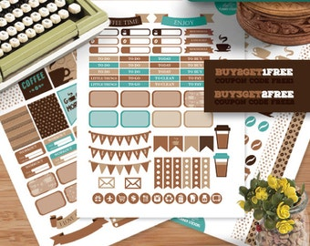 Coffee Planner Stickers for Erin Condren Life Planner, Weekly Stickers Kit, Printable Planner Stickers, Coffee Stickers Kit