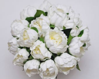 White Peony Real Touch Wedding Bridal Bouquet Bridesmaid Bouquet Groomsmen boutonnières Set Choose ribbon color