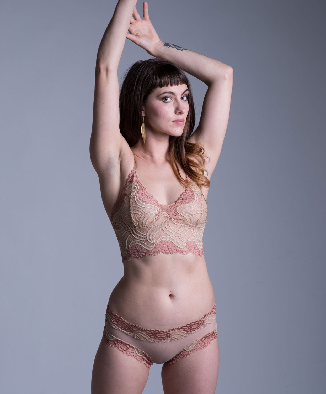 BEIGE FLORI Sheer Lingerie Set / Classy briefs/ Cheeky/ Nude