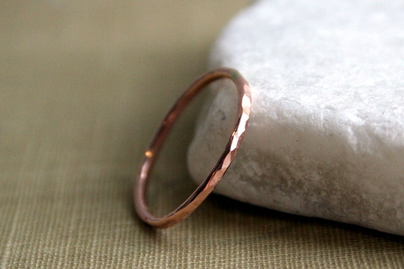 Slim Hammered 14K Rose Gold Fill Single Stacking Ring