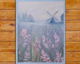 ORIGINAL Landscape of flower Field Original Large Abstract Landscape pastel Painting, Wall Decor, Fine Art