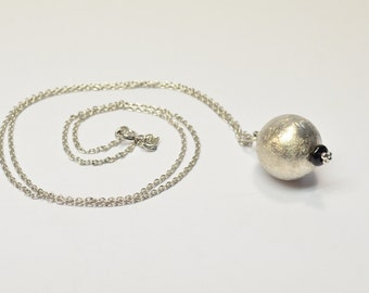 Silver and onyx necklace, silver ball,sphere charm,long silver chain, silver clasp, chanel necklace, handmade Italian jewelry made in Italy