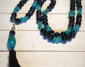 Boho Turquoise Tassel Necklace