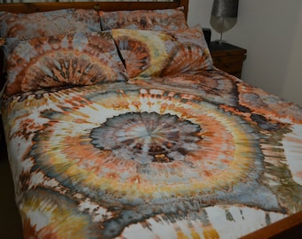 """Ice Tie Dye Bed Quilt Cover Set """"Genevieve"""" 100% Cotton Duvet cover with pillowcases. Shades of Brown"""