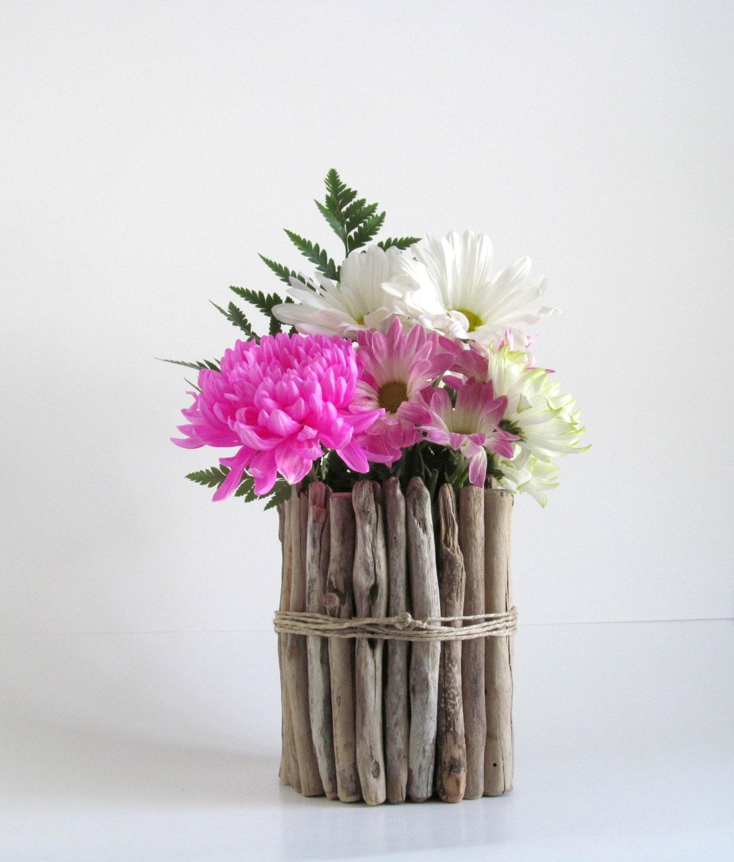 Round Driftwood Vase Driftwood Centerpiece Wedding