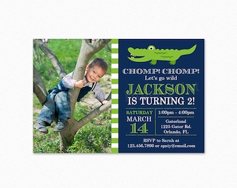 Alligator Birthday Party Invitation, Crocodile Birthday Party Invitation, Green Stripes, Blue, Boy, Printable and Printed