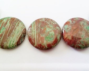 Green stripe jasper 35mm coin beads 35mm stone beads green stone beads brown stone beads semiprecious stone semiprecious beads pendant beads