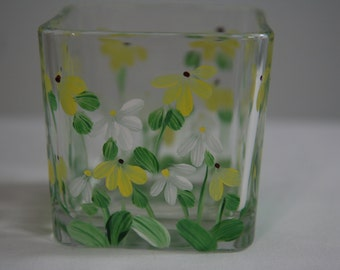 Hand Painted Glass Square Votive Holder