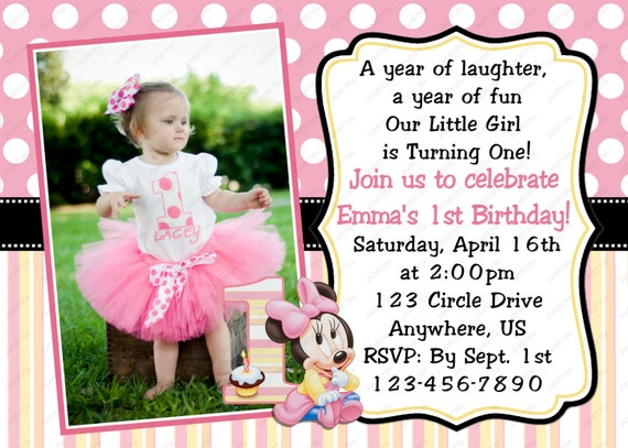 Minnie Mouse Baby 1st First Birthday Invitation OR Thank you