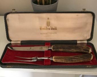 Vintage Genuine Antler Stag Handle Carving Set, Haddon Hall