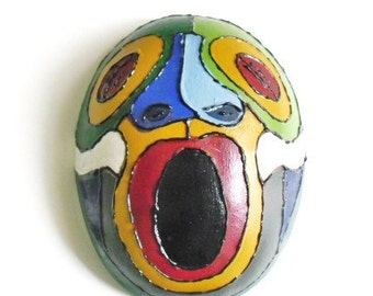 Caribbean Mask on Local Gourd- African