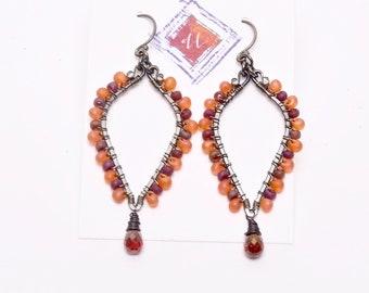 Artisan Crafted Glass Drop Earrings, Garnet Earrings, Dangle and Drop Glass Earrings