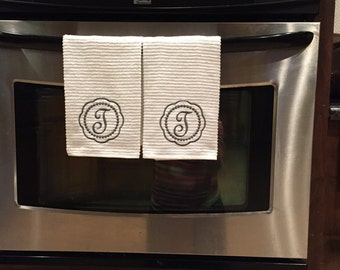 2 Monogrammed dish towels, dish towel, kitchen towel, hand towel, housewarming gift, shower gift new house gift