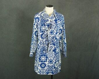 vintage 60s Mod Floral Dress - 1960s Psychedelic Ruffled Shift Dress Mini Dress Sz M