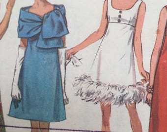 """Sewing Pattern - Evening dress pattern, Simplicity 8495, 1960s Misses' Dress in Two Lengths and Stole, Size 16, Bust 38"""", Cut and complete"""