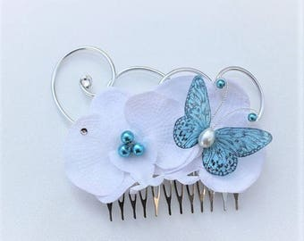 Wedding hair comb - bridal hair - fascinator - white orchids and turquoise Butterfly - customizable