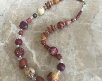 Felted and Vintage Bead Necklace, The Jamaica