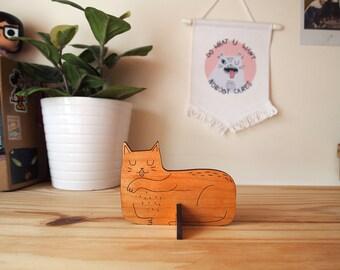 Cat wooden desk ornament - Desk pet - Laser cut cat - wooden cat - Desk cat - Cat gifts - I like Cats - cat standee - ornament