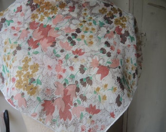 Vintage 1970s Glentex cotton polyester scarf floral slightly sheer  21 x 21 inches