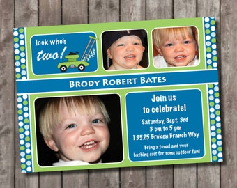 Personalized Lawn Mower Party invitations