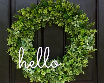 Boxwood Wreath, Greenery Wreath, Hello Wreath, Everyday Wreath, Year Round Wreath, Farmhouse Decor, Boxwood Door Wreath, Hello Wreath