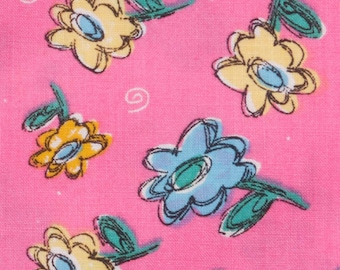 Pink Cotton Fabric 4 Fat quarters Bright pink background with blue and yellow daisies Feed sack Perfect for quilting and doll clothing