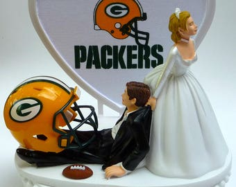 Wedding Cake Topper Green Bay Packers GB Football Themed w/ Cheesehead, Garter Pack Fans Bride Groom Unique Groom's Cake Top Humorous Funny