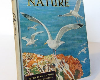 Nature Wonder Book Illustrated Vintage Hardback Childrens Animal Birds Beasts Colour plates