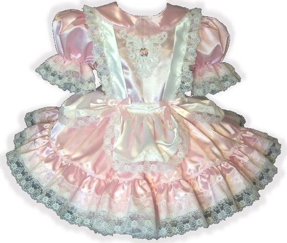 Satin Fit Adult Sissy Pinafore Dress Leandra Pink Little Girl CUSTOM LEANNE tfSqwwOB