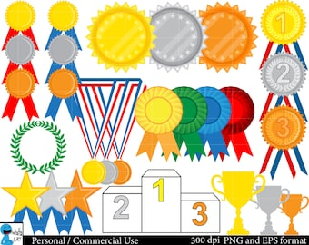 Winner Medals Set Clipart - Digital Clip Art Graphics, Personal, Commercial Use - 69 PNG images (00091)