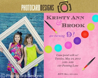 Painting Birthday Photo Invitation Card | Digital | DIY | Print file invite | Print option available | Art | Craft | Paint | Artisit | Girl