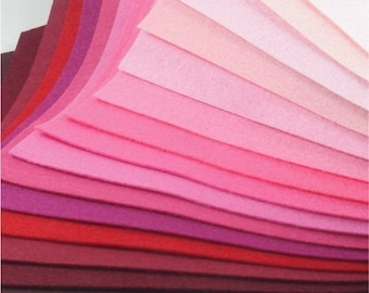 Felt Fabric - 15 Pinks and Reds - 20cm x 20cm per sheet
