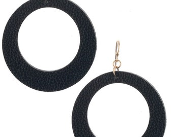 Leather Look Cutout Round Earrings Gold/Black