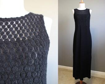 Black Maxi Dress Vintage 90s Goth Festival Medium