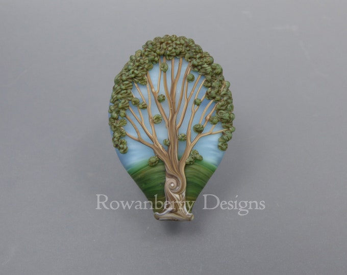 Featured listing image: Summer Oak Tree - Handmade Lampwork Glass Focal Bead - Rowanberry SRA - Art - TR4 - Pendant Upgrade Available