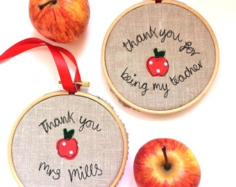 Thank you teacher freehand embroidered decorative hanging hoop