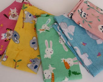 Kids Cloth Napkin Set of 5 // Pastel Animals // Lunchbox Napkins // Kids Handkerchief // Party Favor // Stocking Stuffer //Gift for Kids