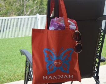 Butterfly Tote - Butterfly Bag - Butterfly Name - Personalized Butterfly - Beach Bag Personalized - Butterfly Birthday - Butterfly Gift