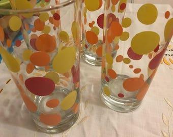 SALE!! Federal libby retro polka dot glass set 4