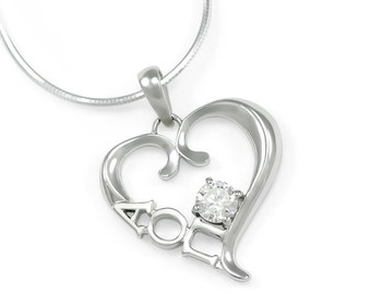 Alpha Omicron Pi Sterling Silver Heart Pendant set with a Swarovski Clear Crystal // ΑΟΠ Sorority Jewelry // Sorority necklace // aoii