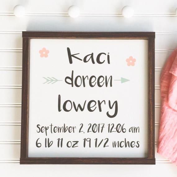 BabyBirth Stats . Personalized Baby Name . Name Sign . Birth Stats . Baby Girl . Newborn . Baby Gift . Boho Nursery . Newborn Gift