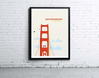 San Francisco Golden Gate Illustration Print, Poster, Art, Wall Art, Typography