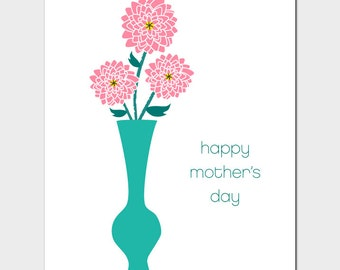 Vases Mother's Day Card with Dahlias