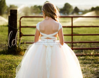 NEW! The Olivia Dress in Ivory and Blush - Flower Girl Dress